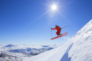 off-piste skiër